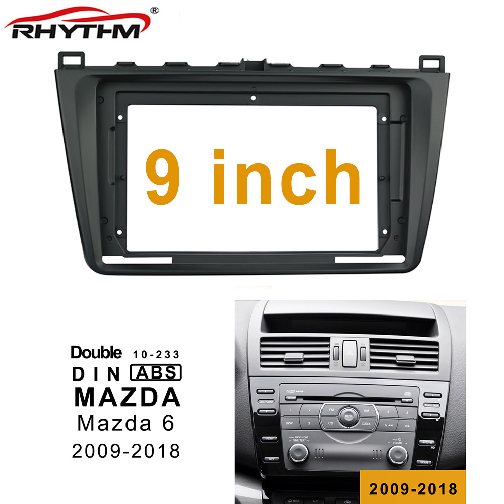 9 Inch 2din Car <font><b>Radio</b></font> Fascia For <font><b>MAZDA</b></font> <font><b>6</b></font> 2009-2018 Stereo Panel <font><b>Dash</b></font> Mount Installation Double Din DVD Frame Install <font><b>Kit</b></font> image