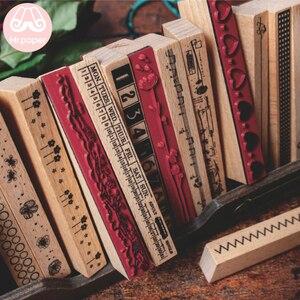 Mr.paper Strip Flowers Ruler Num Fashion Stamp DIY Wooden Rubber Stamps for Scrapbooking Stationery Scrapbooking Standard Stamp