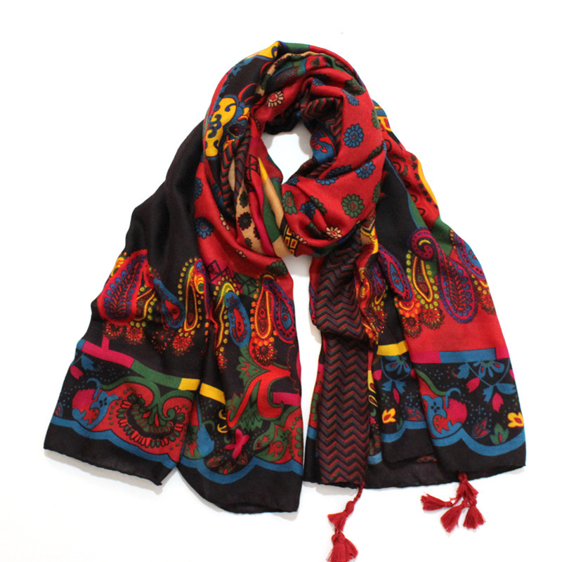 Frauen Mode Afrikanische Ethnische Cashew Viskose Schal Schal Von Spanien Lange Echarpe Foulards Femme Bufandas Mujer Muslim Hijab Caps