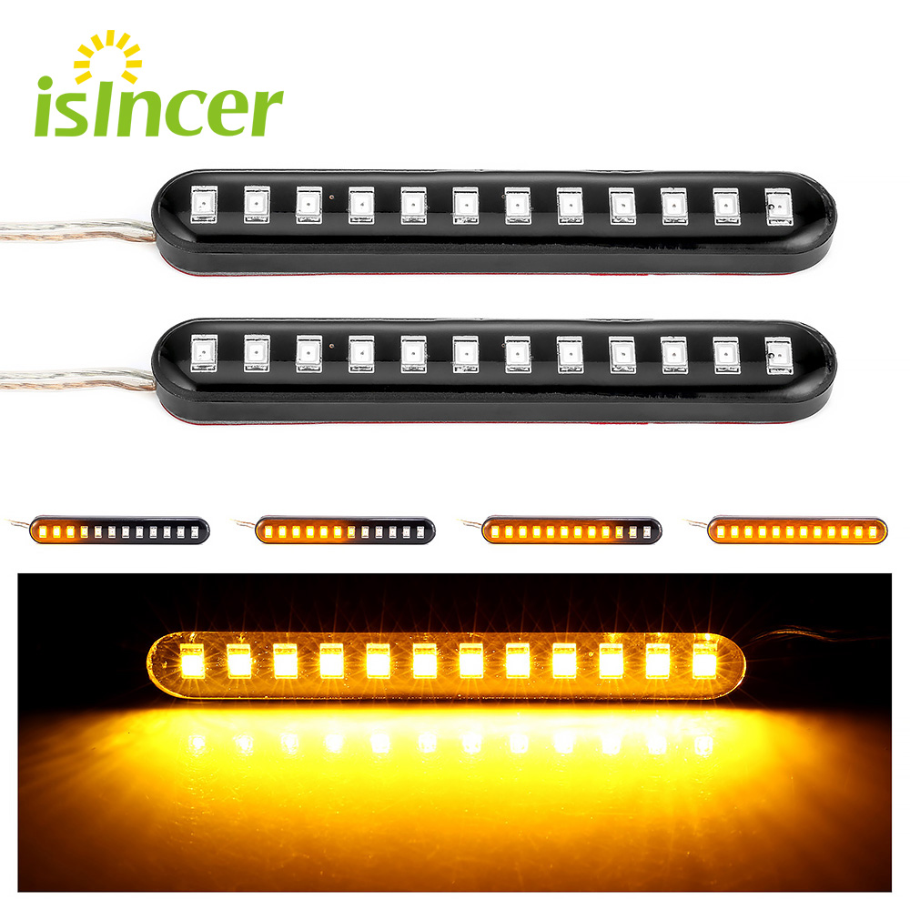 2Pcs 12 LED Moto Signal Lights Sequential Water Flowing Mini Strips Motorcycle Car Strips Led Turn Signal Flasher Lights