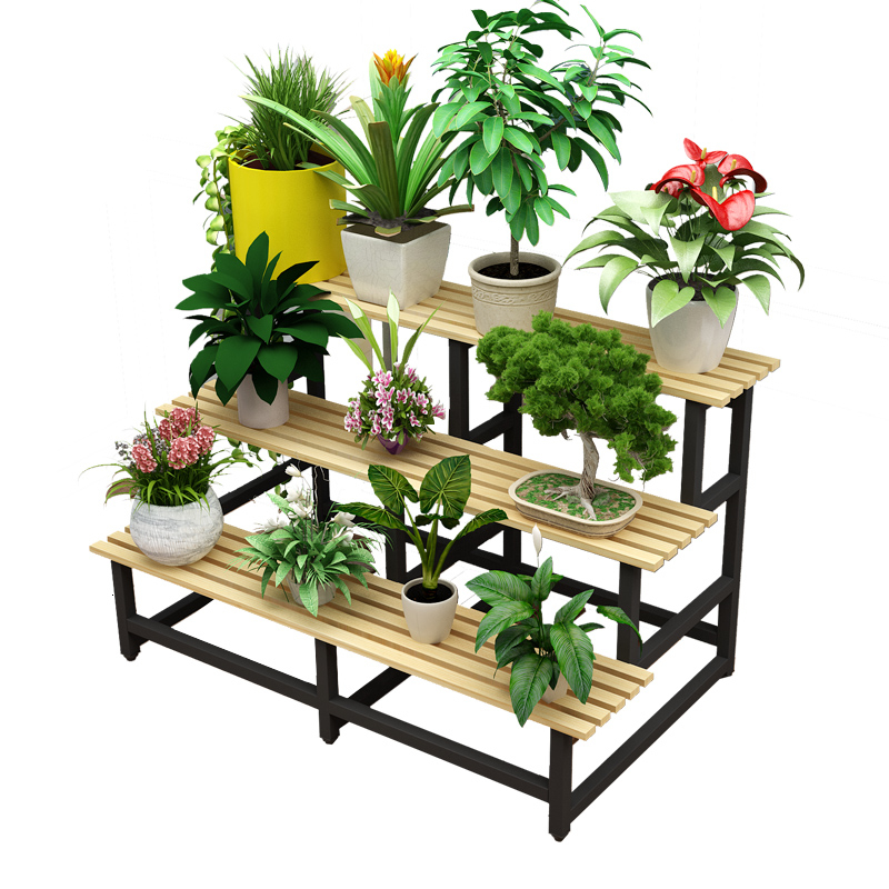 Multi-storey Indoor Ladder Type  Ground  Flowerpot Iron Art Province Space Solid Wood Balcony Meaty Flower Rack