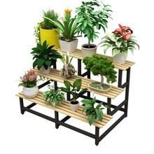 Multi-stöckige Indoor Leiter Typ Boden Blumentopf Eisen Kunst Provinz Raum Solide Holz Balkon Fleischig Blume Rack