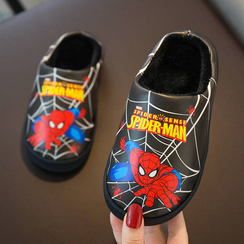 Kids Winter Slippers For Boys Cartoon Spiderman PU Flip Flop Baby Girls Children Floor Shoes Plush Warm Home Parent-child Shoes