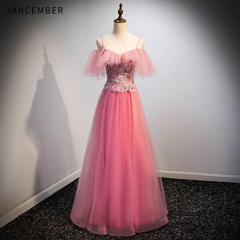Wln18460 Jancember Largo Vestidos De Noche Cuello Manga Corta De Encaje De Vuelta Vestido Formal Elegante Mujer вечернее платья