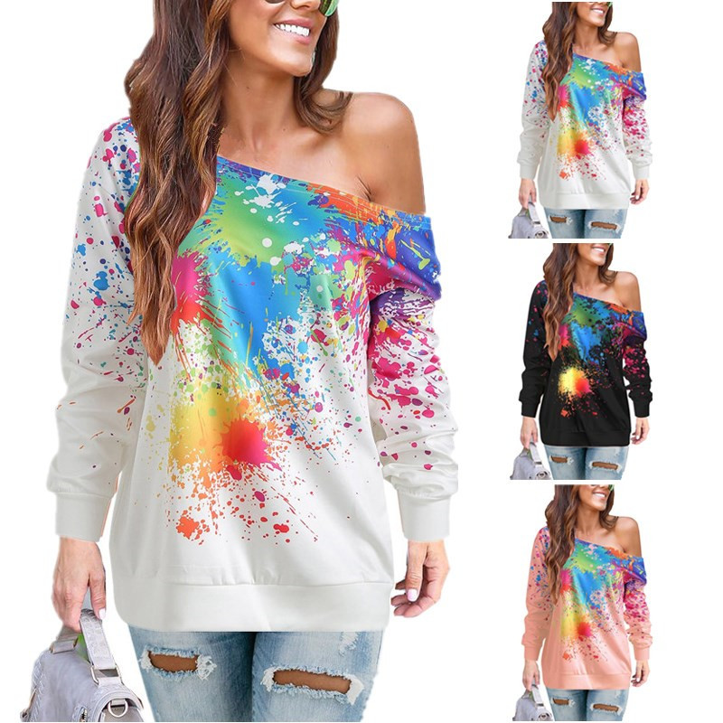 Mulheres Manga Comprida Camisa de T Das Mulheres de Um Ombro Colorido Pintura Splatter Imprimir Streetwear tshirt Engraçado Camisetas roupas feminina D30