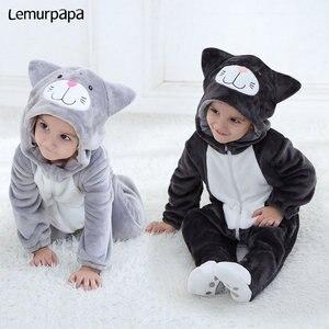 Image 1 - Baby Romper Charmmy kostium kota chłopiec dziewczyna Kawaii Onesie zamek z kapturem kreskówka zwierzęta noworodka maluch ubrania ciepłe miękkie