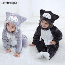 Barboteuse pour bébés, déguisement de chat charmant pour garçons et filles, fermeture éclair, Kawaii, dessin animé danimaux, pour nouveau nés, vêtements chauds et doux