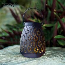 Party Festival Lantern Hollow Black Iron Hanging Handle Lantern Outdoor Courtyard Light Halloween Decor Solar Charge Lampion