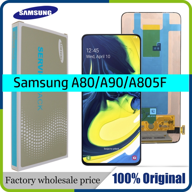 100% SUPER AMOLED 6.7 LCD Display For Samsung Galaxy A80 A805 SM A805F A90 A905F Touch Screen Digitizer Assembly+Service pack
