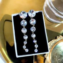 fashion long tassel drop earrings for women girl rhinestone exquisite snake chain pendant earring brincos bijoux rhinestone long chain earrings