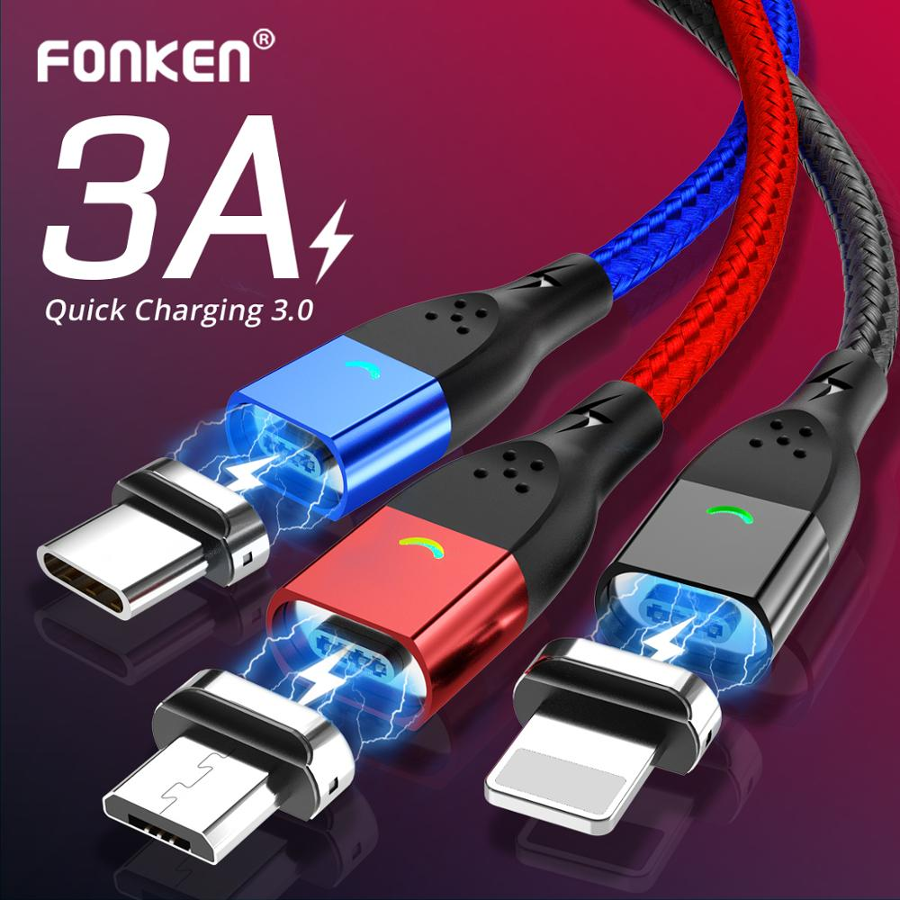 FONKEN Magnetic Micro USB Cable Type C Magnetic Charger Phone Cables For IPhone Samsung Huawei Xiaomi LG Quick Fast Charge 1m 2m