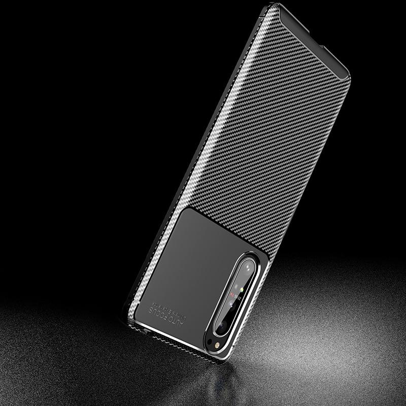 Silicone Protective Phone Case For Sony Xperia 5 II Carbon Fiber Soft TPU Cover Case For Sony Xperia 10 II 1 II Xperia 20 5 8 (7)