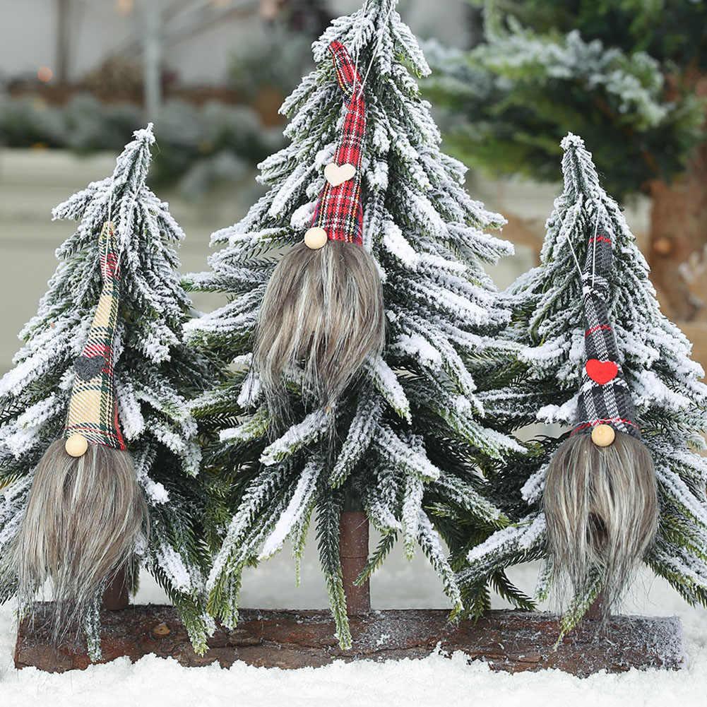クリスマスロング帽子 Gnome 人形ペンダントドア壁の木ホームパーティーハンギングオーナメント Christma ペンダントチェック柄帽子グレーカーキ赤