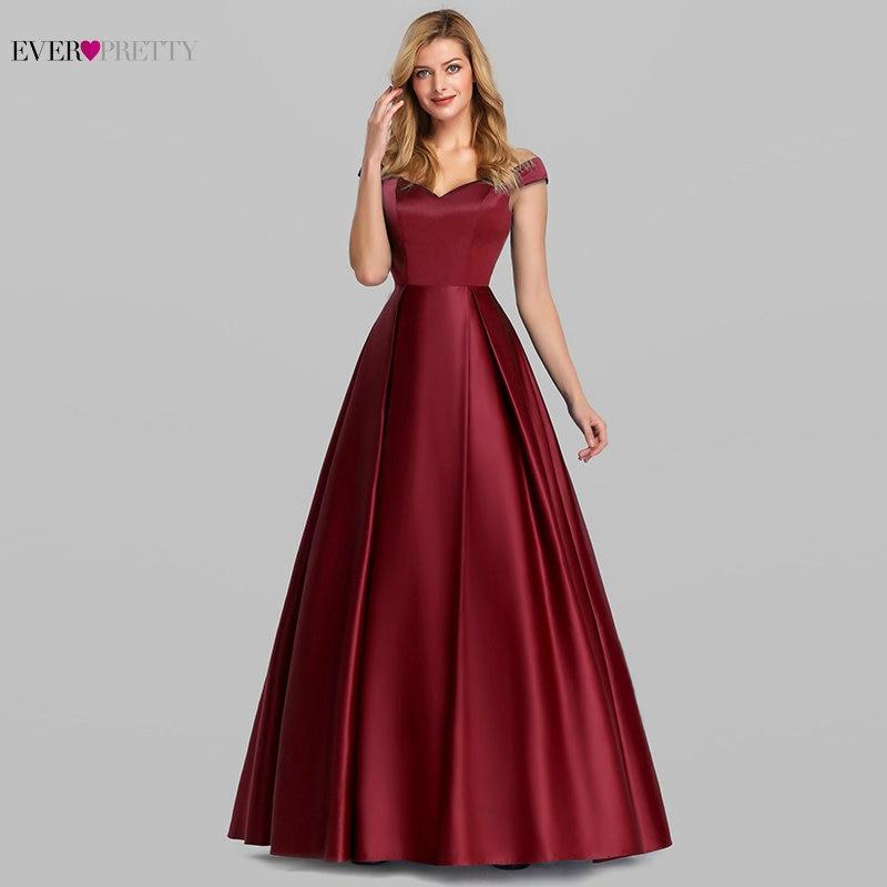 Elegant Burgundy Satin Prom Dress Long Ever Pretty New A Line V Neck Off Shoulder Formal Party Dresses Vestidos De Gala Elegante