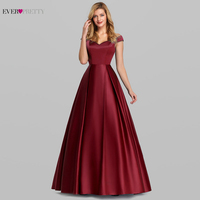 Elegant Burgundy Satin Prom Dress Long Ever Pretty New A Line V Neck Off Shoulder Formal Party Dresses Vestidos De Gala Elegante