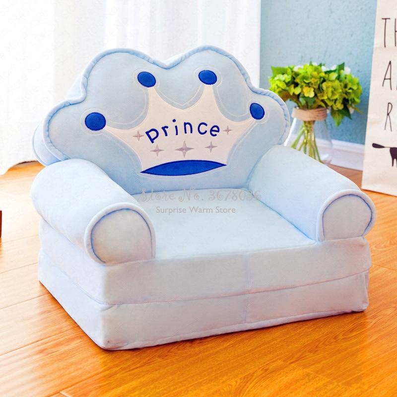 Sólo cubrir sin relleno de dibujos animados corona asiento Puff Skin Cover para niños pequeños sofá plegable bebé niños mejores regalos