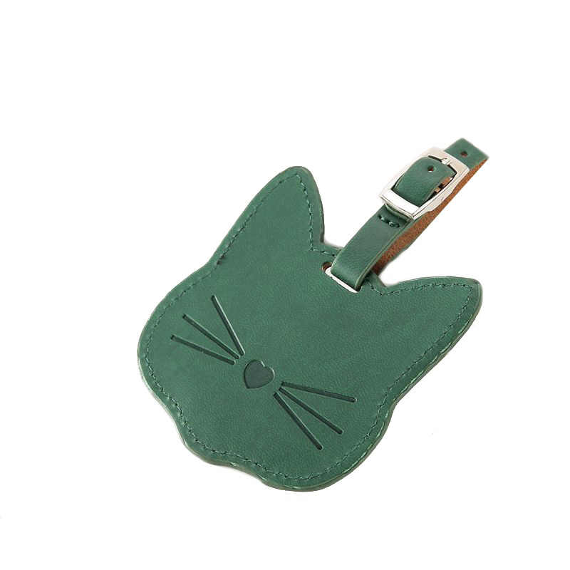 Cute Cat PU Leather Suitcase Luggage Tag Label Bag Pendant Handbag Travel Accessories Name ID Address Tags