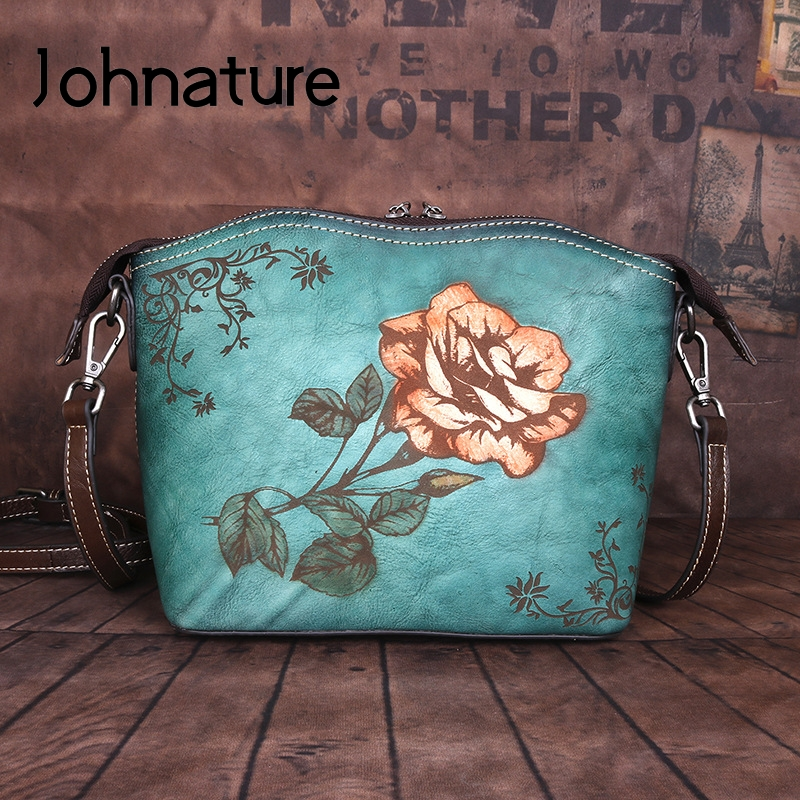 Johnature High Quality Retro Cowhide Women Bag 2020 New Genuine Leather Leisure Large Capacity Floral Shoulder & Crossbody Bags