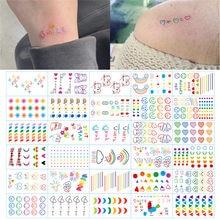 Hyuna ins série colorido arco-íris expressão tatuagem adesivo rosto mão linda arte do corpo falso tatoo temporária à prova dtatágua taty