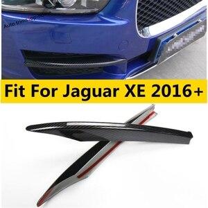 Image 1 - Zubehör Für Jaguar XE 2016   2019 Stoßfänger Vorne Nebel Lichter Foglight Lampe Abdeckung Trim ABS Chrom/Carbon Faser außen Kit