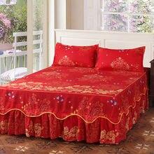 Moda suave lijado colcha Anti-salto boda cama falda reina tamaño King No Pilling sábana equipada cubierta de cama de doble capa