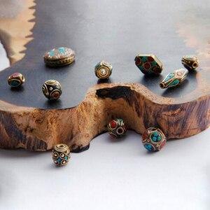 Image 2 - 50 stücke Retro Gebet Nepal Perlen Handgemachte Rote Koralle Tibetischen Lose Perlen Charms Für DIY Schmuck Machen Halsketten Armbänder