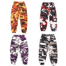 Wine Kid Hip Hop Clothing Camouflage Jogger Pants for Girls Jazz Dance wear Costume Ballroom Dancing Clothes Stage Outfits Suit
