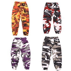 Image 1 - Wine Kid Hip Hop Clothing Camouflage Jogger Pants for Girls Jazz Dance wear Costume Ballroom Dancing Clothes Stage Outfits Suit