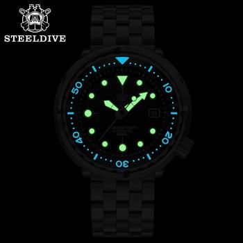 Steeldive SD1975 Black Dial Ceramic bezel 30ATM 300m Waterproof Stainless Steel NH35 Tuna Mens Dive Watch 2