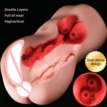 New Double Uterus Vagina Sexy Ass Soft Silicone Sex Doll Deep Throat Pocket Pussy Sucking Cup Male Masturbator Adult Sex Toys realistic 3d soft deep throat maiden vagina deep pussy ass masturbator sex toys for men vagina onahole anal male adult sex toys