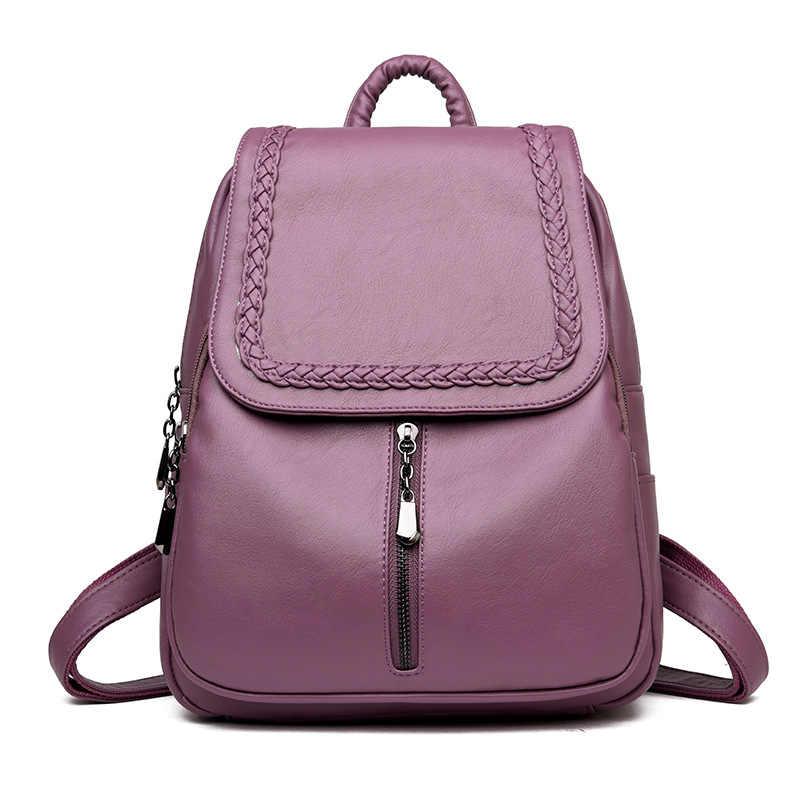 Baru Wanita Ransel Wanita Ransel Kulit Tas Wanita Fashion Kulit Desain Bagpacks untuk Anak Perempuan 2018