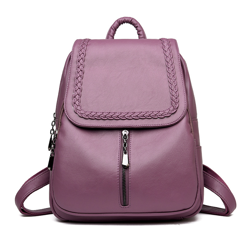 Image 5 - Brand New Female Backpack Women Backpack Leather School Bag Women Fashion Designer Leather Bagpacks for Girls 2018-in Backpacks from Luggage & Bags