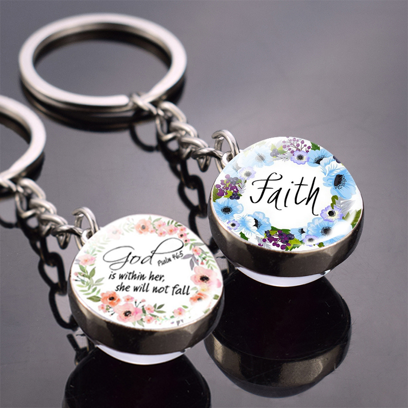 Bible Verse Key Chains God Is Within Her She Will Not Fall Double Side Glass Ball Keychain Faith Walk in Love Pendant Keyring