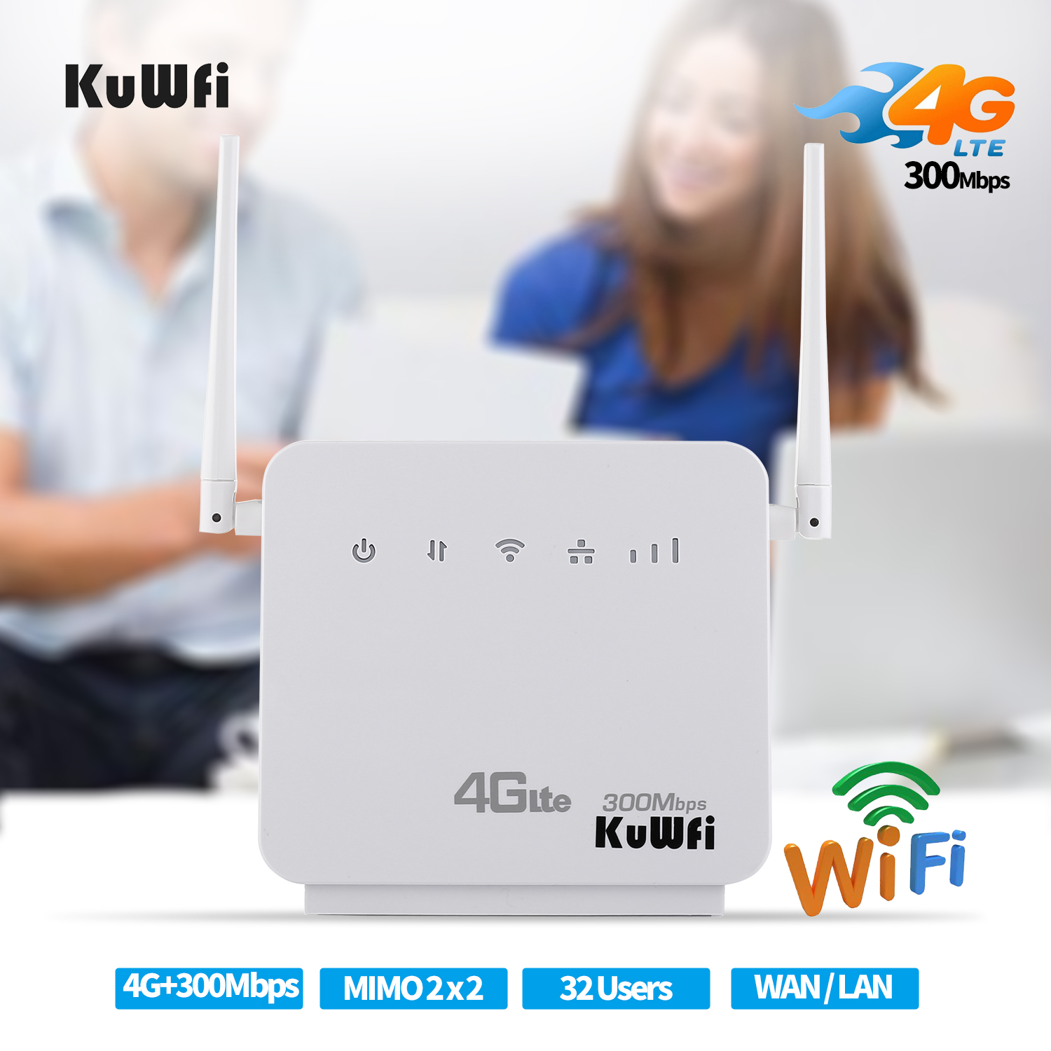 Unlocked 300Mbps Wifi Routers or 4G LTE CPE Mobile Router with LAN Port Support and SIM card 3