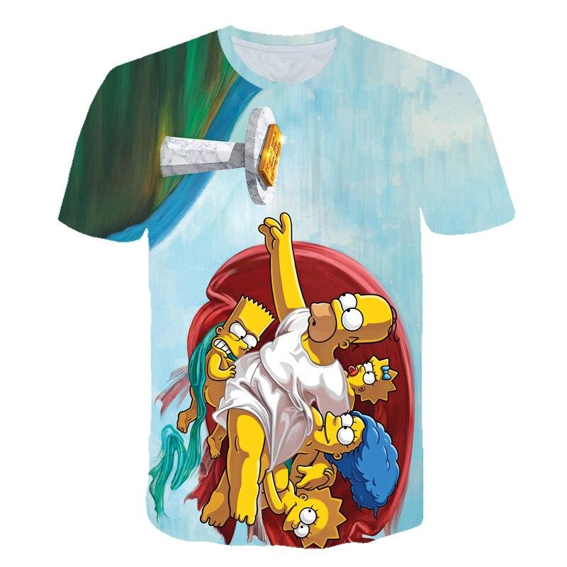New Cartoon Simpson T Shirt Hrarjuku Kids T Shirt Men Tops Clothing Short-sleeved 3D Printed Streetwear Hip Hop Tees Tshirts