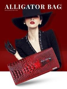 Women Wallet Clutch-Bags Coin-Purses-Holders Alligator Crocodile Female Long Genuine-Leather
