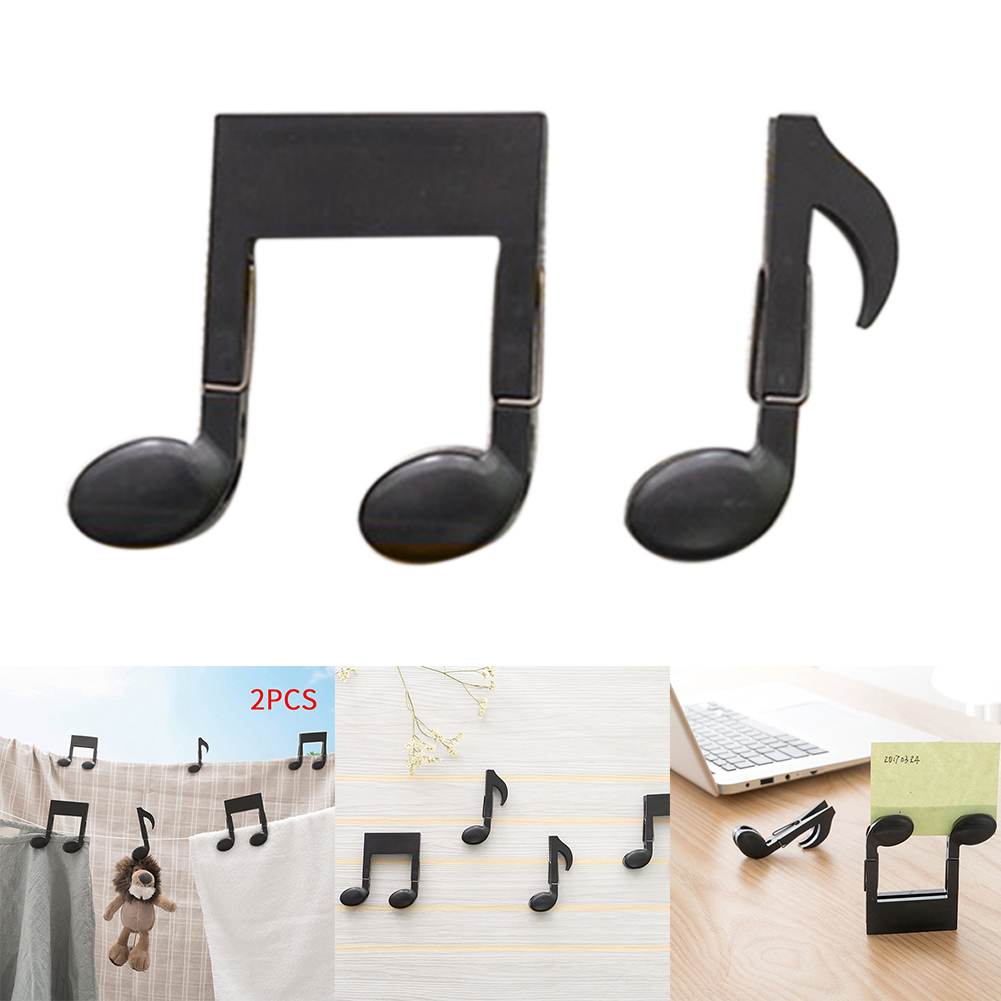 2pcs Small Music Notation Clip Clothespins Pegs Photo Household Food Bag Notes Sealing Black Windproof Office ABS