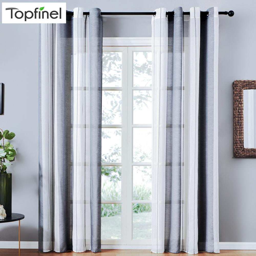 Topfinel Sheer Curtains Stripe Voile Kitchen Curtains For Bedroom Living Room Home Decortive Tulle Curtains