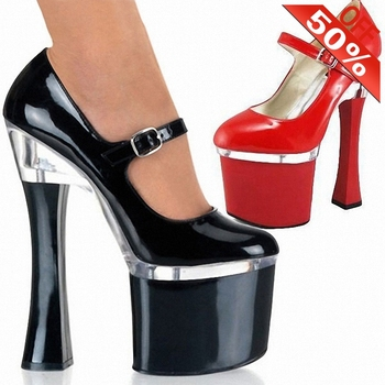 8 inch women high heels sexy crossdressers shoes models stage show Dress pumps 18cm chunky heels platform round toe Black part