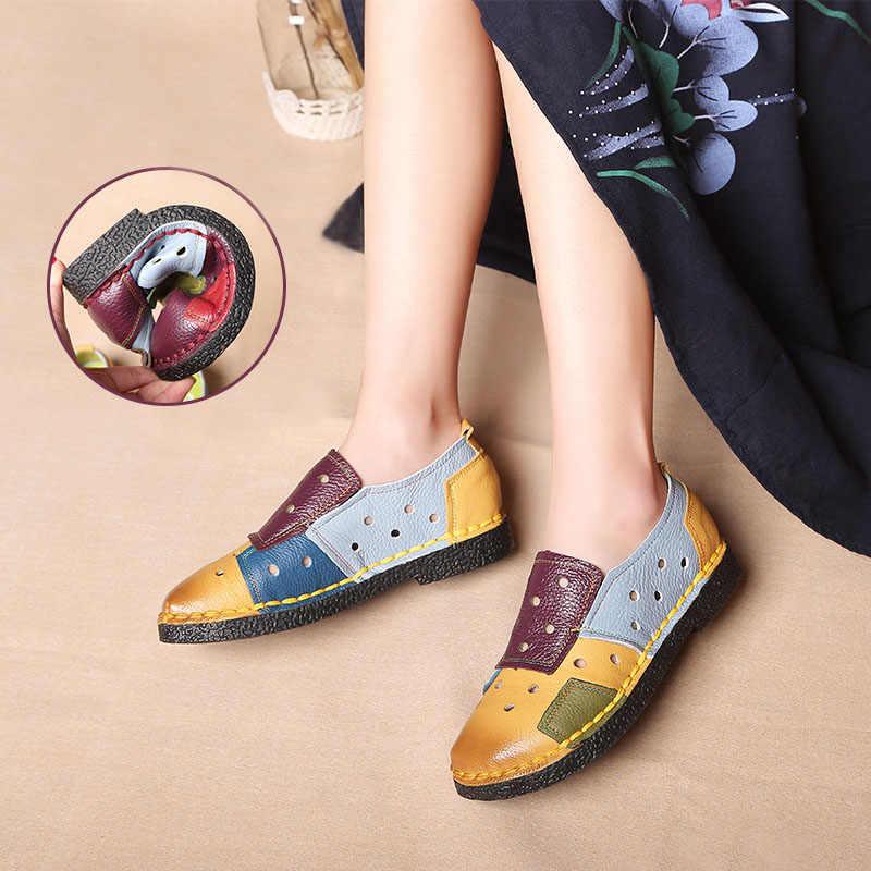 2019 tasarımcı kadın hakiki deri makosenler bayanlar bale daireler karışık renkler loafer'lar üzerinde kayma platformu rahat ayakkabılar Size35-42
