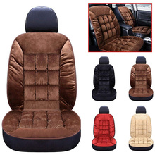 Winter Car Seat Cover Seat Cushion Plush Square Pad Thickening Plush Cushion Seat Protector For Car Interior Truck Suv Van