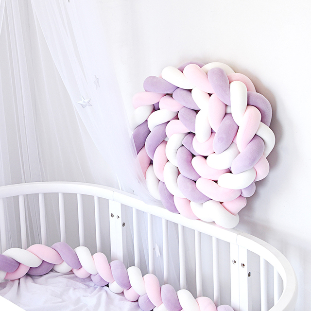 3M Mixed Colours Braided Crib Bumper Knot Pillow Knot Cushion Bolster Pillow Crib Baby Bed Bumper Kids Pillow Nursery Decor | Happy Baby Mama