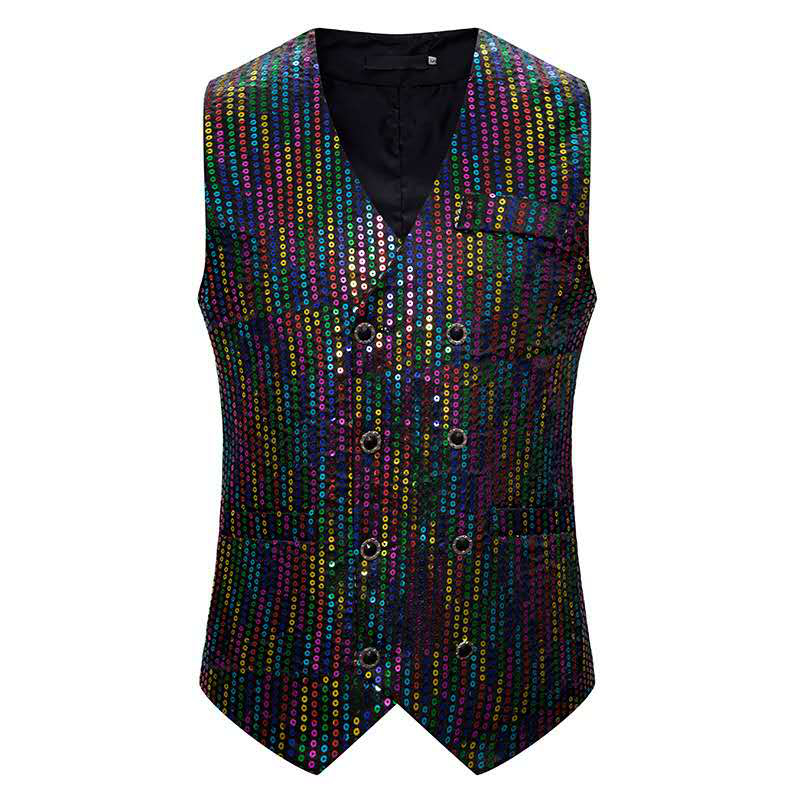Stage Costume Men Rave Clothes Cool Laser Colorful Glitter Vest Coat With Multicolored Sequins Nightclub Male Singer Wear DN5075