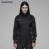 PUNK RAVE Men Steampunk Retro Black Jacquard Shirt Gothic Party Club Long Sleeves Men Blouses