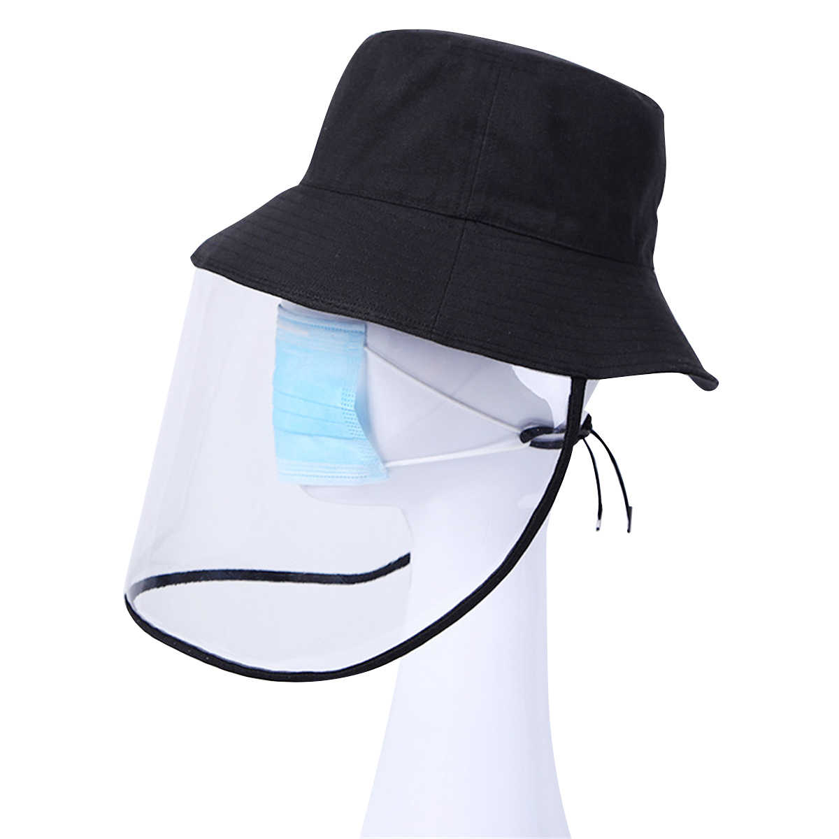 Rinder Protective Transparent Cap Bucket Sun Hat Full-face Safety Face Shield Protective Bucket Hat Removable Hat for Men and Women Outdoor Fisherman Hat