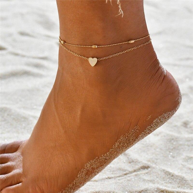 Vagzeb Women Anklets Heart Barefoot Crochet Sandals Foot Jewelry Two Layer Foot Legs Bracelet Anklets
