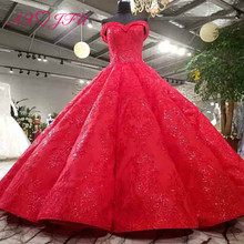 AXJFU luxury princess beading crystal flower red lace wedding dress vintage boat neck sparkly ruffles wedding dress 3392