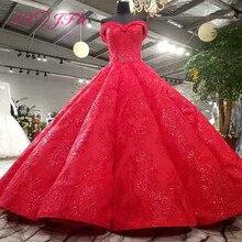 AXJFU luxus prinzessin perlen kristall blume rot spitze hochzeit kleid vintage boot neck sparkly rüschen hochzeit kleid 3392