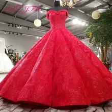 AXJFU יוקרה נסיכה ואגלי קריסטל פרח אדום תחרה שמלת כלה בציר סירת צוואר נוצץ ראפלס חתונה שמלת 3392