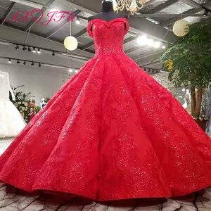 Image 1 - Vestido de boda AXJFU de lujo de princesa con cuentas de cristal y flores de encaje rojo, vestido de novia vintage con cuello de barco brillante con volantes 3392
